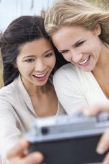 Two Young Women Girls Taking Selfie Photograph