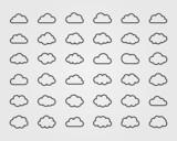 Big vector set of thirty-six cloud shapes - 71665751