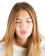 girl giving kiss