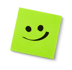 Smile face on adhesive note
