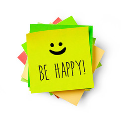 Be happy message on adhesive note