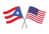 American and Puerto Rican flags. Vector illustration. - 71666995