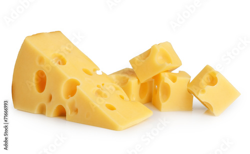 Deurstickers Zuivelproducten piece of cheese isolated