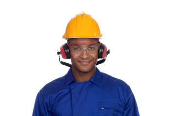 Construction worker with helmet and glasses