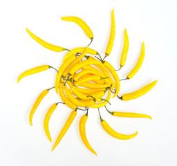 hot yellow chili pepper sun