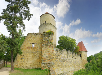 Medieval castle Zvikov in the Czech Republic with round tower