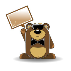 Cartoon illustration of mysterious bear with a white sign