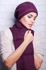 шапка, шарф, трикотаж