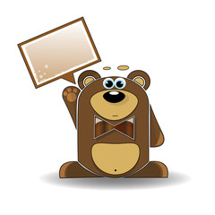 Cartoon illustration of surprised bear with a white sign
