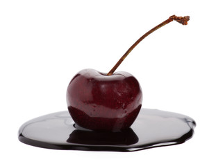cherries in chocolate puddle