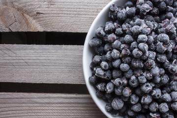 Bowl full of frozen blueberrys