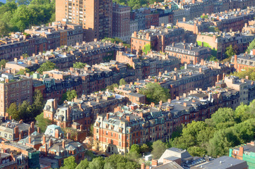 Aerial view of Back Bay apartment in Boston, USA