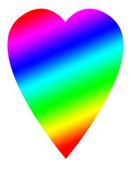 A rainbow colored heart shape design