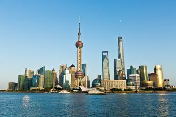 Shanghai city scenery at  dusk