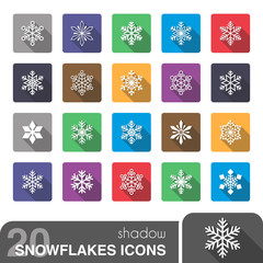 Snowflakes icons with shadow.