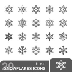 Snowflakes icons set.