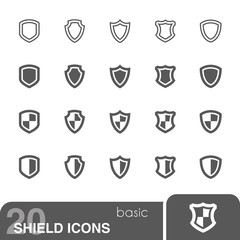 Shield icons set.