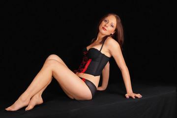 Lovely lingerie model, full body portrait