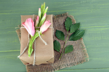 Natural style handcrafted gift box with fresh flowers and