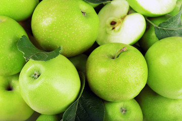Ripe green apples close up