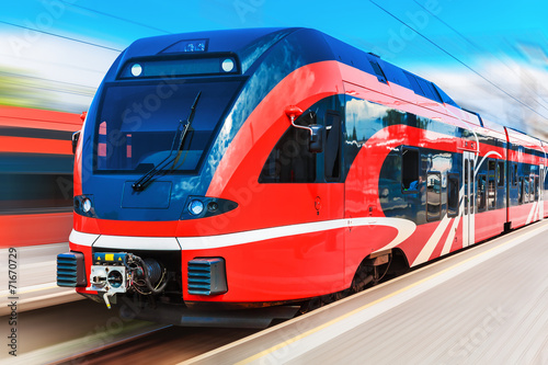 canvas print picture Modern high speed train