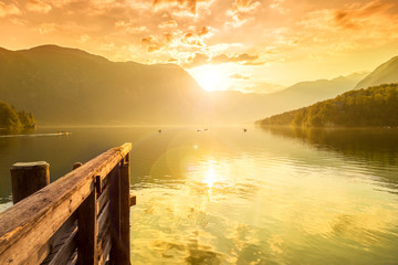 Sunset on the lake Bohinj, Slovenia