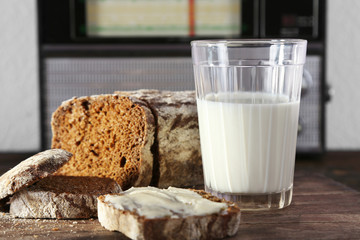 Rye bread and glass of milk