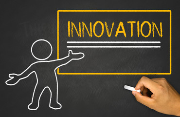 innovation and small people on chalkboard