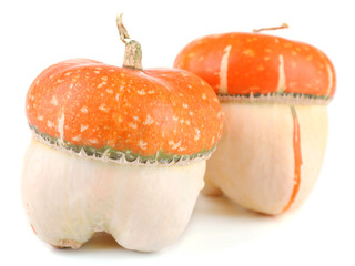 Red ornamental pumpkins isolated on white