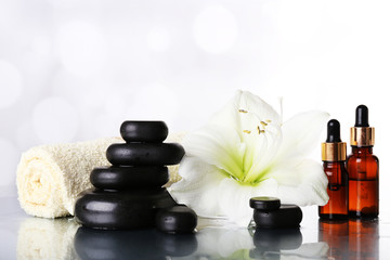 Spa composition with orchid and spa stones