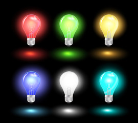 Glowing light bulb ideas, Vector illustration modern design temp