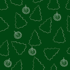 Vector seamless pattern of Christmas trees and Christmas balls