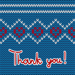 thank you card with hearts knit background
