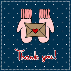 thank you card with mittens and a letter on a dark background