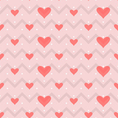 pattern small dots, gray zigzag on a pink background