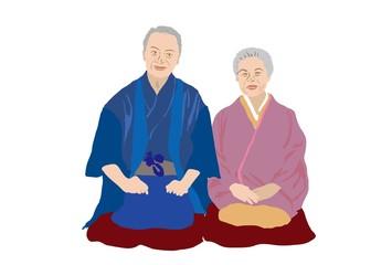 おじいさんとおばあさんの敬老の日の老人の人物イラスト
