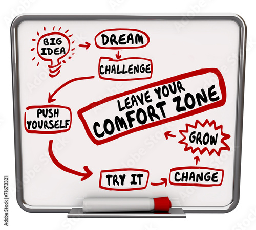 canvas print picture Leave Your Comfort Zone Push Yourself Change Grow Diagram
