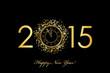 Zdjęcia na płótnie, fototapety, obrazy : Vector 2015 Happy New Year background with gold clock