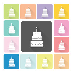 Cake Icon color set vector illustration