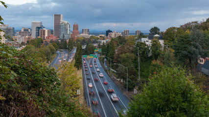 Timelapse of Highway 26 Traffic into Downtown Portland OR