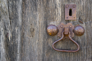 Front view of old doorknocker and wooden door