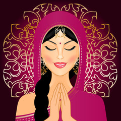 Vector illustration of Indian woman praying