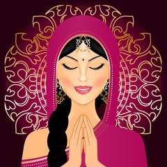 Vector illustration of Indian woman praying