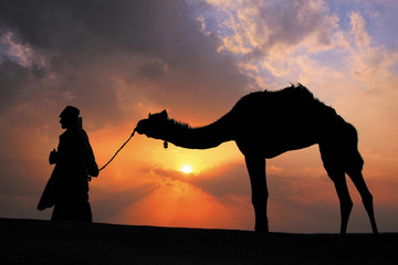 Silhouetted bedouin walking with his camel at sunset, Thar deser