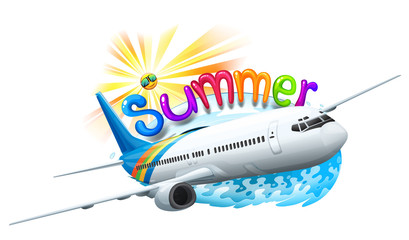 A summer template with a plane