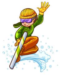 A sketch of a man enjoying the winter