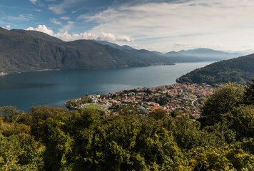 aerial view of lake Maggiore and Cannobio