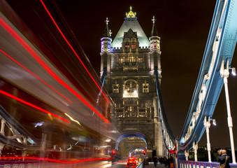 Traffic on Tower Bridge by night