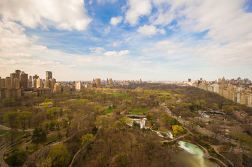 Autumn view of Central Park from the hotel window, Manhattan,