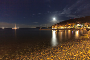 View of Marciana Marina in night